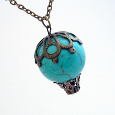 Albuquerque Dreams - Turquoise Howlite Hot Air Balloon Necklace Jewelry Jewellery Pendant. $38.00, via Etsy.