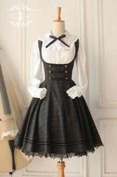 Miss Point Vintage Style Gingham Lolita Corset JSK >>> http://www.my-lolita-dress.com/college-school-style-vintage-tartan-lolita-jumper-dress-yuan-70 [Custom Sizing Available | Only $60.99]