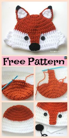 8 Knit & Crochet Fox Hats - Free Patterns Since it is getting colder, we decided to show you how to make these very warm and comfortable Knit/Crochet Fox Hats! There are both knit and crochet design Crochet Baby Beanie, Crochet Kids Hats, Diy Crochet, Crochet Ideas, Knit Hats, Crochet Designs, Crochet Patterns, Hat Patterns, Baby Knitting Patterns