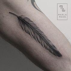 Feather tattoo by Marla Moon // #feathertattoo #linework