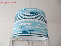 Kinderlampen - Lampenschirm °° BLAUER WAL°° - ein Designerstück von mangarosaberlin bei DaWanda