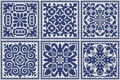 Six blue tiles   Charts for cross stitch or filet crochet.