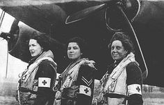 RAF nurse orderlies return from Normandy after D-Day - first female RAF aircrew to fly into the combat zone