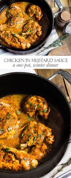 Chicken in Mustard Sauce: A French, one-pot meal that's warm, comforting, and absolutely scrumptious! Recipe via MonPetitFour.com