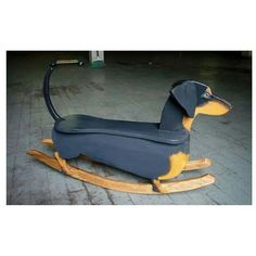 How cool is this!? Tiny doxie rocking chair!