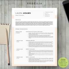 Word Resume & Cover letter Template by Profilia Resume Boutique on Resume Cover Letter Template, Letter Template Word, Modern Resume Template, Creative Resume Templates, Cv Template, Design Templates, Resume Ideas, Letter Icon