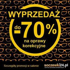 Wielka wyprzedaż w salonie Soczewki24.pl Modne oprawy korekcyjne do 70% taniej. Znane marki popularne modele, atrakcyjne wzory - dla niej i dla niego. Szczegóły promocji w salonie. Zapraszamy serdecznie. Czas trwania promocji: 16.01. – 28.02.2015