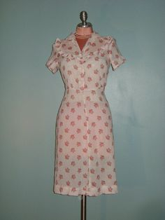 30s 40s dress vintage 1930s 1940s SWEET PINK ROSES swiss dot ruffle cotton voile day dress