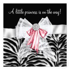 Pink Zebra Pink Black Princess Baby Shower Custom Invite $1.90
