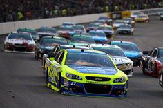 NASCAR driver Paul Menard fights for position in the Sprint Cup Race at Richmond