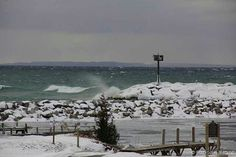 Winter in Leland Mi  Harbor