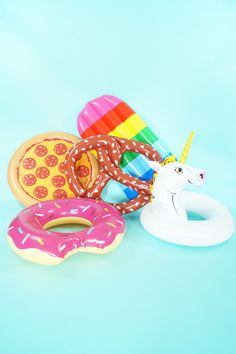 Pool float fun - available at www.StephanieShivesStudio.com Donut pizza pretzel popsicle and unicorn floats