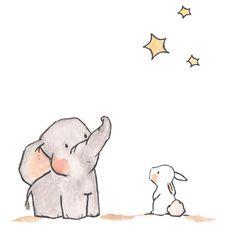 Elephant bunny looking at stars
