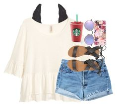 """""""Starbucks date with BFF"""" by theperksofbeinghope ❤ liked on Polyvore featuring Charlotte Russe, Levi's, Billabong, Ray-Ban and Casetify"""