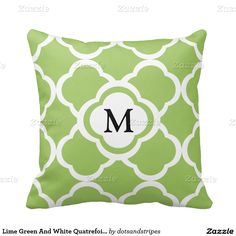Lime Green And White Quatrefoil Custom Monogram Pillows