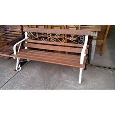 Banco de madeira e ferro Branco- 1785 #arte #moveis #rusticos - www.artemoveisrusticos.com.br
