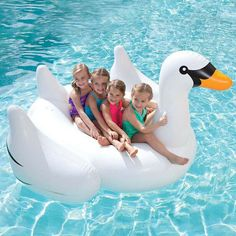 Giant Inflatable Swan Rubber Ring Pool Float Lilo Tube Toys For Kids and Adults