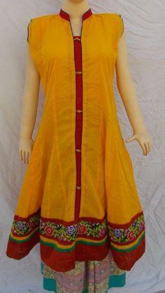 Indian Bollywood Kurta Kurti Designer Women Ethnic Dress Top Tunic Art Silk  #Handmade #Tunic #Clubwear