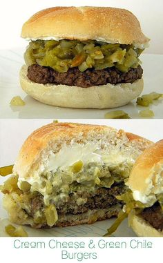 Cream Cheese and Green Chile Burgers (made 4 oz. Burgers, and only used 1/2 the cream cheese and chilies called for)