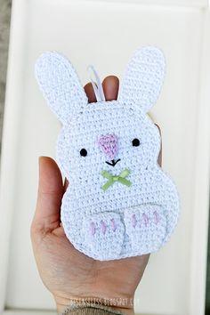 Crochet rabbit and chick applique in cotton yarn - Coniglio e pulcino a uncinetto in cotone - besenseless.blogspot.com