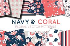 Navy and Coral Vector Digital Paper by SarahPurpleDesigns on @creativemarket