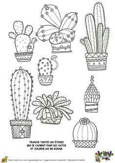 Preschool Cactus Coloring Pages (New) - Preschool Children Akctivitiys Cactus Drawing, Cactus Art, Cactus Doodle, Cactus Decor, Cactus Plants, Art And Illustration, Cactus Illustration, Pattern Illustration, Doodle Drawings