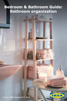 Refresh your bathroom with simple style changes and upgraded organization options. Open storage with deep shelves allows for easy access to fresh towels and toiletries.