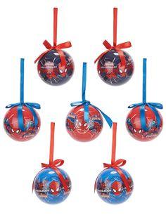 7 Bolas Spiderman™ 7,5 cm Navidad