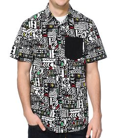 Hit a show, the beach, or your couch in the wild look of the Empyre Word Up black and white print button up shirt. A rad short sleeve button up shirt with an all-over black and white wild print with a black chest pocket and a straight back yoke to improve