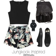 Jungkook Inspired w/ Tropical Prints by btsoutfits on Polyvore featuring Theory, Converse, Will Leather Goods and Uniform Wares