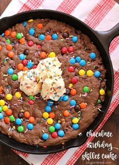 Chocolate Birthday Skillet Cookie. Birthdays are cause to celebrate in a big way with yummy, indulgent desserts, and it certainly wouldn't be a party without this colorful Chocolate Birthday Skillet Cookie! It's loaded with…you probably already guessed…chocolate! It's gooey, fudgey, and melt-in-your-mouth incredible!