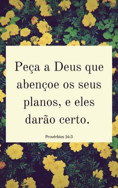 Peça a Deus que abençoe os seus planos, e eles darão certo.  Provérbios 16:3 #God #Jesus #bible #bíblia #versículos