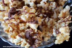Easy Life Meal and Party Planning: Chocolate Drizzled Vanilla Almond Popcorn  #Popcorn #Almonds #Vanilla