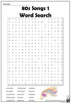 cool 80s Songs 1 Word Search