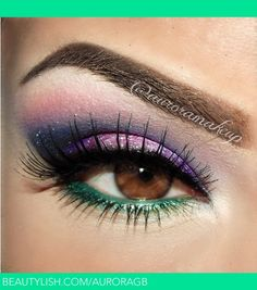auroramakeup | instagram @auroramakeup : Pretty Eye Shadow Look Using Shimmery Shades of Pink, Purple, & a Touch of Green on Lower Lashes! Isn't it Sweet & Sexy All at Once?