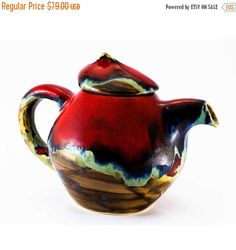 SALE Coffee pot teapot kettle pottery red pot ceramic by Artmika
