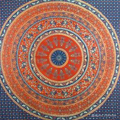 BLUE INDIAN MANDALA TAPESTRY WALL HANGING BED COVER HOME WALL DECORATIVE ART on RoyalFurnish.com, $24.99