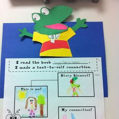 We read Froggy Goes to School. Then, we made text-to-self connections about a time when we were nervous or embarrased. We LOVE Froggy books in our classroom!!!