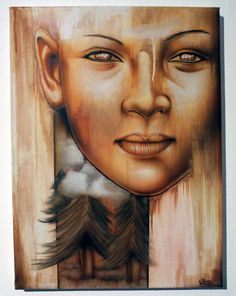 Gaia mother of earth airbrush painting on canvas