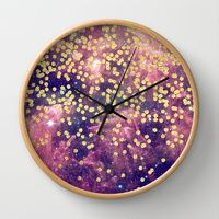 Wall Clocks featuring Gold-Flecked Galaxy by Cat Coquillette