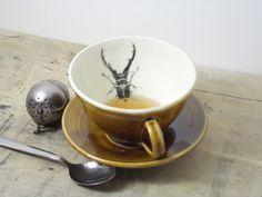 Porcelain Dark Amber Stag Beetle Tea Cup and by FaithAdamsCeramics