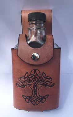 Brown Stamped Celtic Tree Leather Flask Case, leather bottle holder, belt flask holster