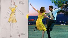 """O figurino de Emma Stone para o filme """"La La Land"""", idealizado pela figurinista Mary Zophres."""