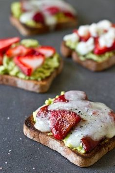 AVOCADO STRAWBERRY + GOAT CHEESE SANDWICH -- I'm not sure how healthy (low cal) this one is, but it looks so delicious. MINUS the goat cheese