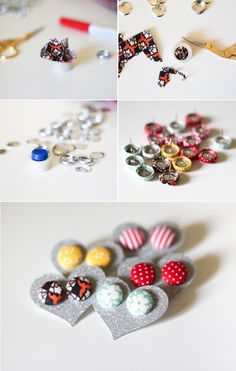 Fabric Covered Button Earrings - The Crafted Life Learn to make your own fabric button earrings in 15 minutes!<br> Learn how to make your own fabric covered button earrings in fifteen minutes. Super easy to do once you learn one little trick! Fabric Earrings, Button Earrings, Fabric Jewelry, Diy Earrings, Clay Jewelry, Jewelry Crafts, Earrings Handmade, Handmade Jewelry, Jewellery Box