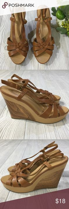 "Bandolino Wedge Bandolino Wedge, Brown, Faux Wood Graphics on Sides, Adjustable Heel Strap, 4.5"" Wedge Height, Great Condition, Minimal Wear Bandolino Shoes Wedges"