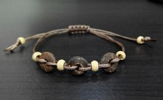 Tribal, Hippie, Boho, Beach Coconut Wood Bracelet, Natural Coconut Wood Braided Bracelet, Ethnic Nature Inspired Jewelry Unisex by KateRinaHM on Etsy