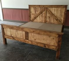 Selection of 62 creative recycled pallet beds, bed frames and headboards, cradles and more, all made from recycled pallets. Those beds are so beautiful that you'll never want to get out of them! Pallet Bedframe, Pallet Beds, Diy King Bed Frame, King Size Bed Frame, Diy King Size Headboard, Diy Bed Frame Plans, Rustic Furniture, Home Furniture, Furniture Design