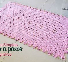 Tapete Simples – Apenas gráfico – Croche.com.br Crochet Potholders, Crochet Doilies, Crochet Home, Diy Crochet, Crochet Chart, Crochet Stitches, Oval Rugs, Crotchet Patterns, Crochet Table Runner