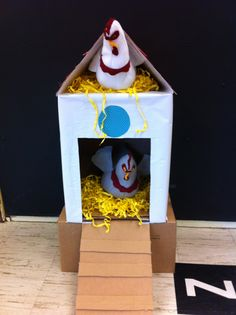 A chicken coop for the backyard garden. Chickens are made of felt and there are chicks that fit inside of plastic easter eggs. The kids loved it!